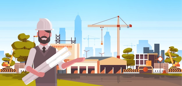 Architetto in possesso di casco arrotolato progetti sul cantiere Vettore Premium