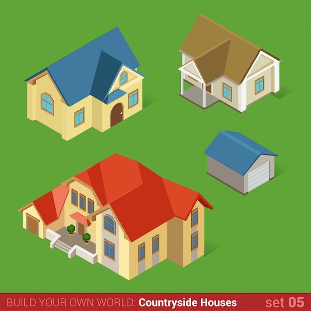 Architettura classica campagna case edifici piatto set isometrico mansion home cottage residenza e garage. Vettore gratuito