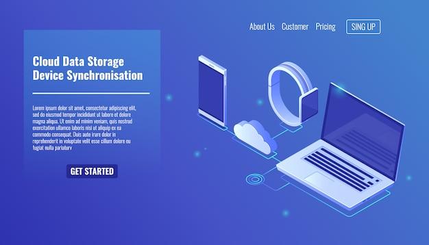 Archiviazione del server di dati cloud, sincronizzazione dei dati di dispositivi elettronici Vettore gratuito