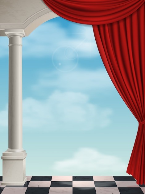 Arco con colonne e tenda sullo sfondo del cielo. Vettore Premium