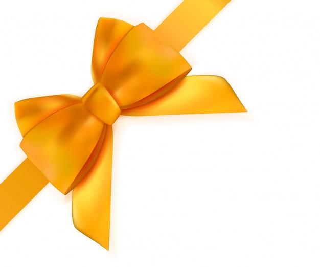 Arco decorativo arancione con nastro isolato su bianco 3d realistico Vettore Premium