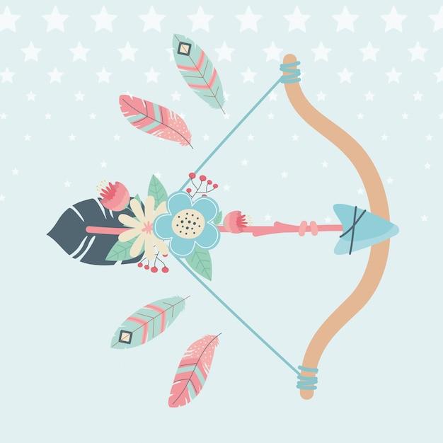 Arco e freccia con piume stile boho Vettore Premium