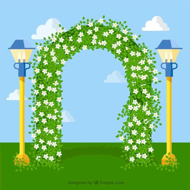 Arco floreale con fiori di gelsomino Vettore gratuito
