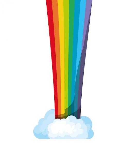 Arcobaleno con l'icona isolata nuvole Vettore Premium