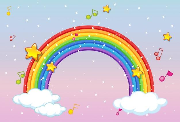 Arcobaleno con tema musicale e glitter su sfondo di cielo pastello Vettore gratuito