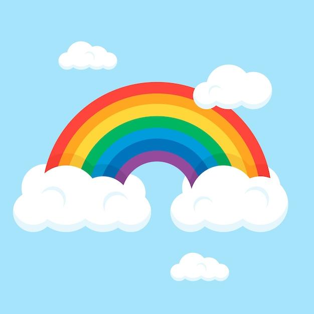 Arcobaleno di stile piano con nuvole Vettore gratuito