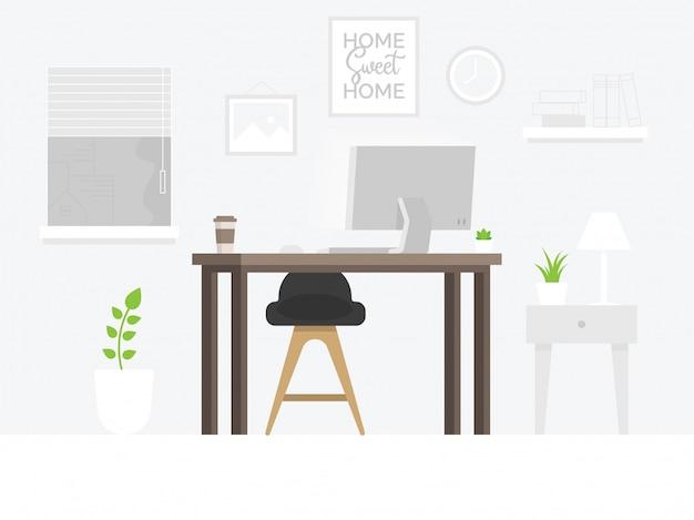 Area di lavoro dell'ufficio creativo Vettore Premium