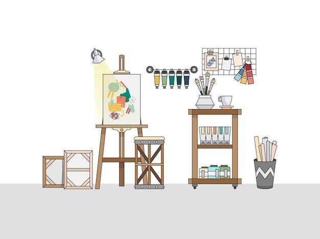Area di lavoro di un pittore artistico Vettore gratuito