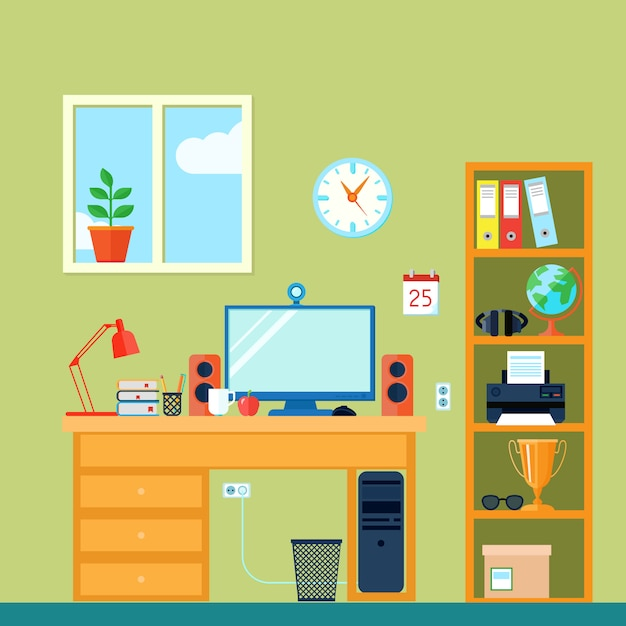 Area di lavoro in camera con computer sulla scrivania Vettore gratuito