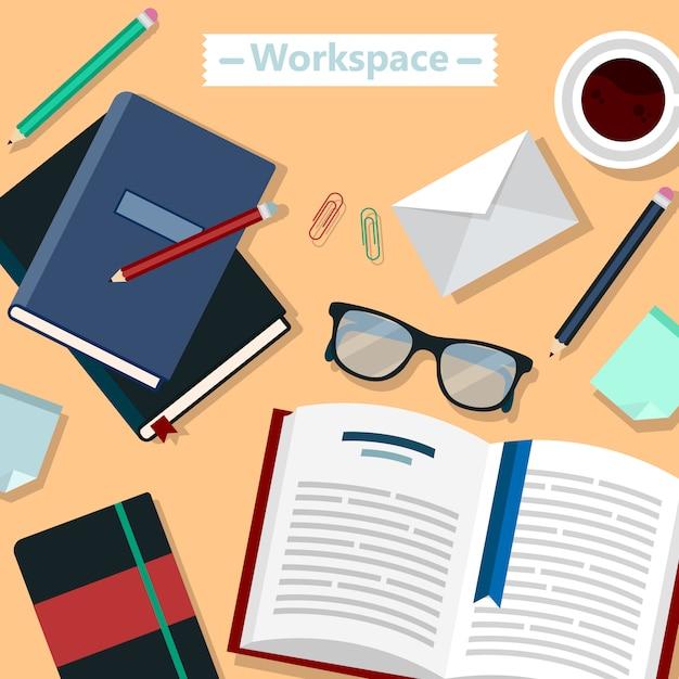 Area di lavoro moderna ufficio aziendale Vettore Premium