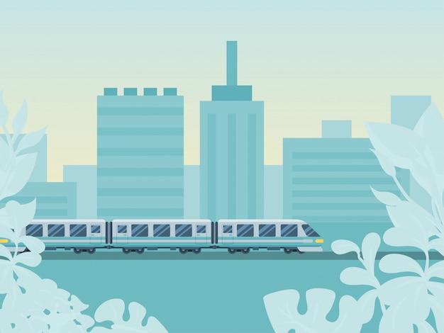 Area urbana urbana di concetto, illustrazione della ferrovia del ponte di giro del treno. sistema di trasporto di stato nazionale di viaggio di viaggio del paese di viaggio. Vettore Premium