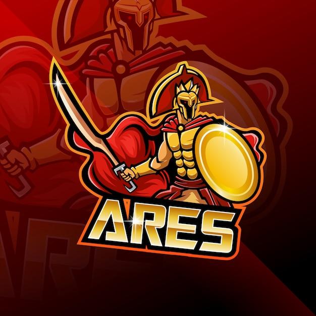 Ares esport mascot logo design Vettore Premium