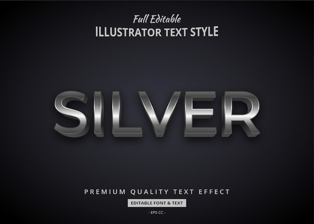 Argento elegante effetto 3d stile testo premium Vettore Premium