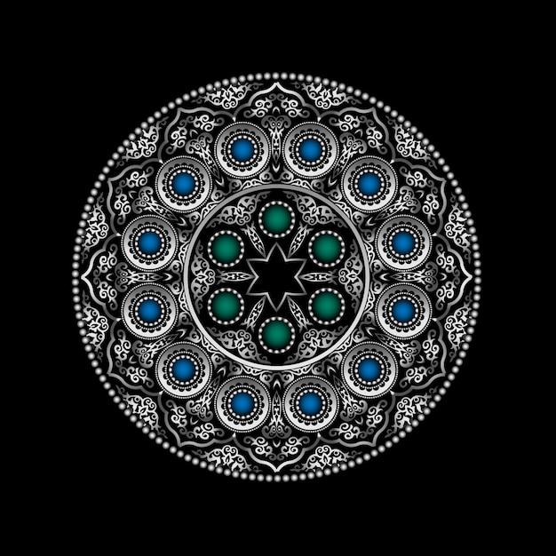Argento modello rotondo 3d ornamento con gemme blu e verde - arabo, islamico, stile orientale Vettore Premium