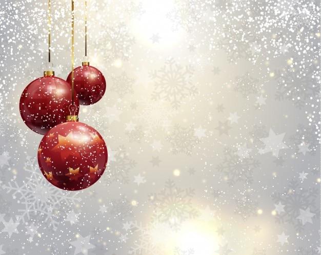Argento natale sfondo con palline rosse Vettore gratuito
