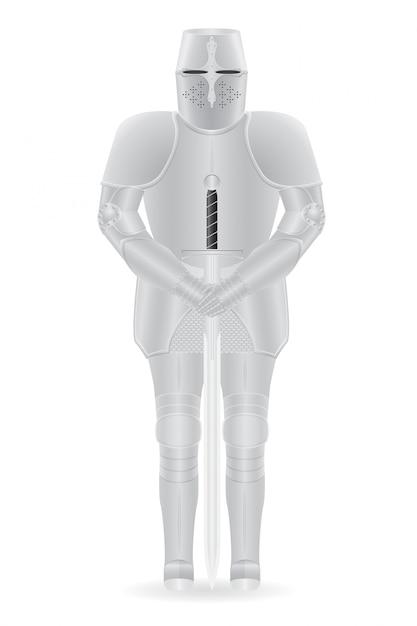 Armatura cavaliere con spada. Vettore Premium