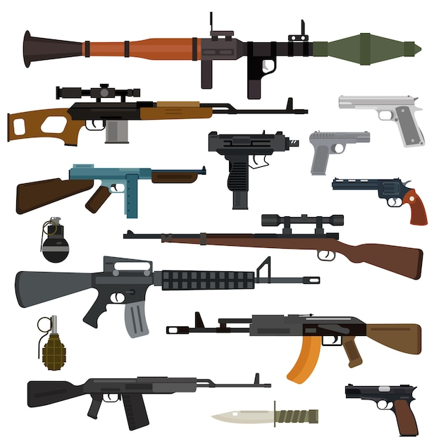 Armi collezione vettoriale. pistole, fucili mitragliatori, fucili d'assalto e da cecchino, coltello, granata Vettore Premium