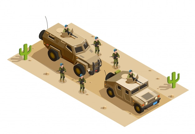 .army military vehicles isometric Vettore gratuito