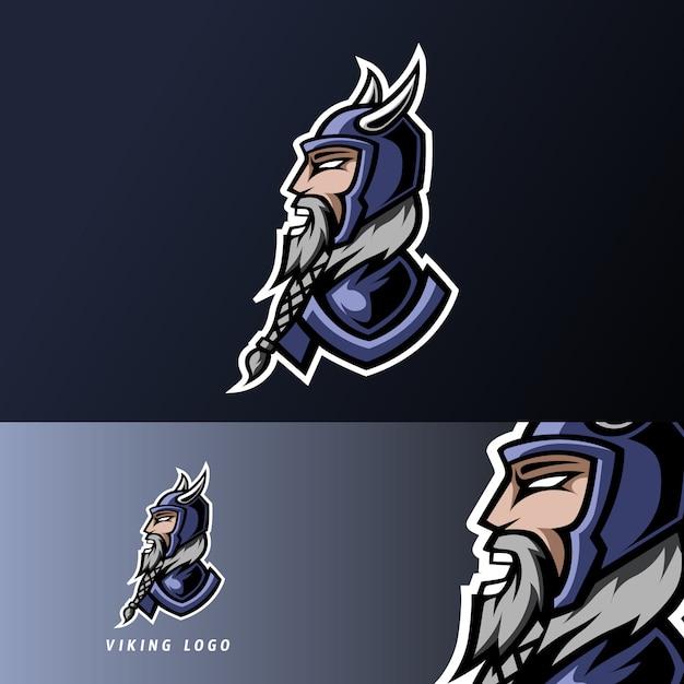 Arrabbiato viking gaming sport esport logo modello con armatura, casco, barba folta e baffi Vettore Premium