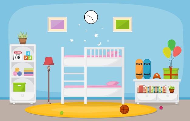 Arredamento camera da letto per bambini Vettore Premium