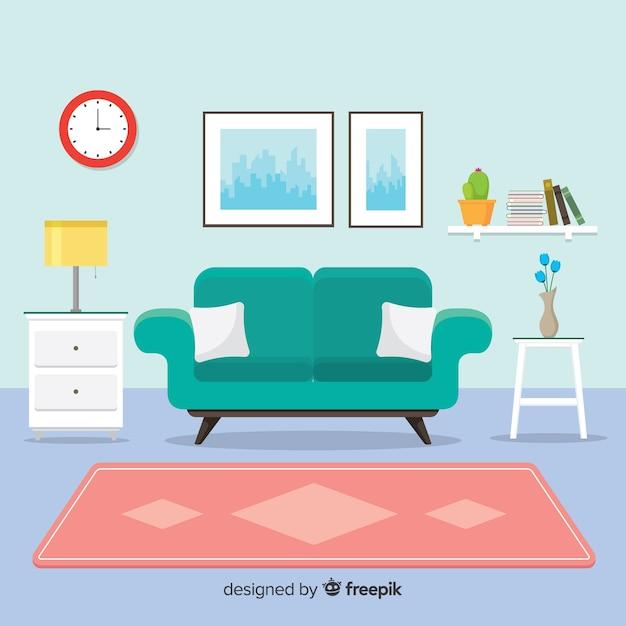 Arredamento casa moderna con design piatto Vettore gratuito