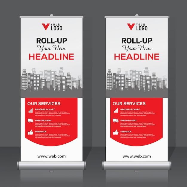 Arrotola il modello di banner Vettore Premium