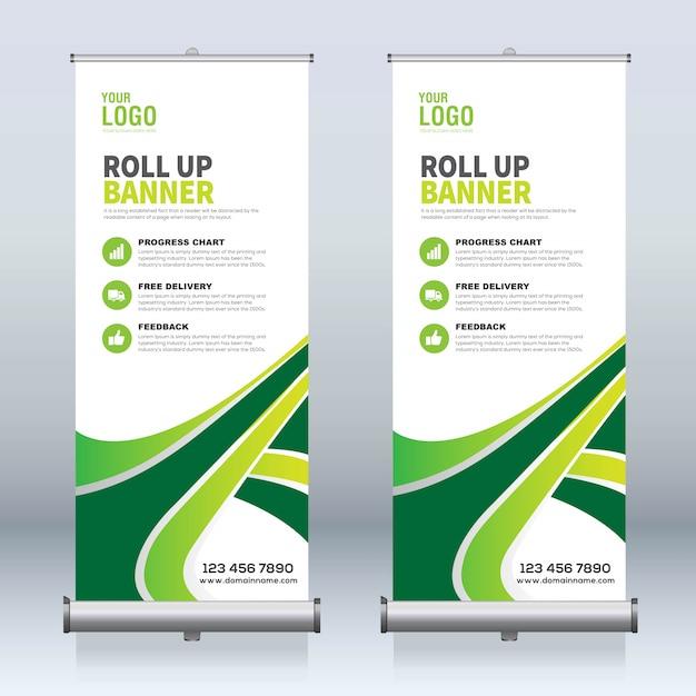 Arrotolare banner, tirare su banner, x-banner, moderno modello di progettazione nuovo vettore verticale Vettore Premium