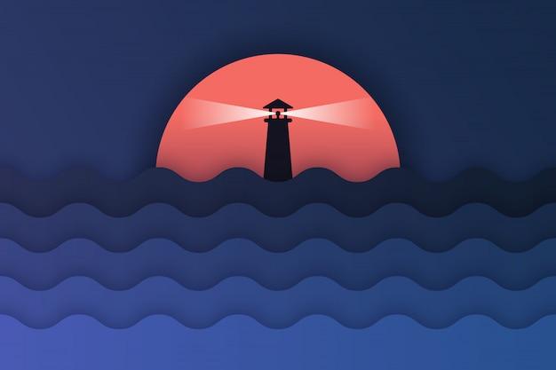 Arte cartacea di vista mare e tramonto Vettore Premium