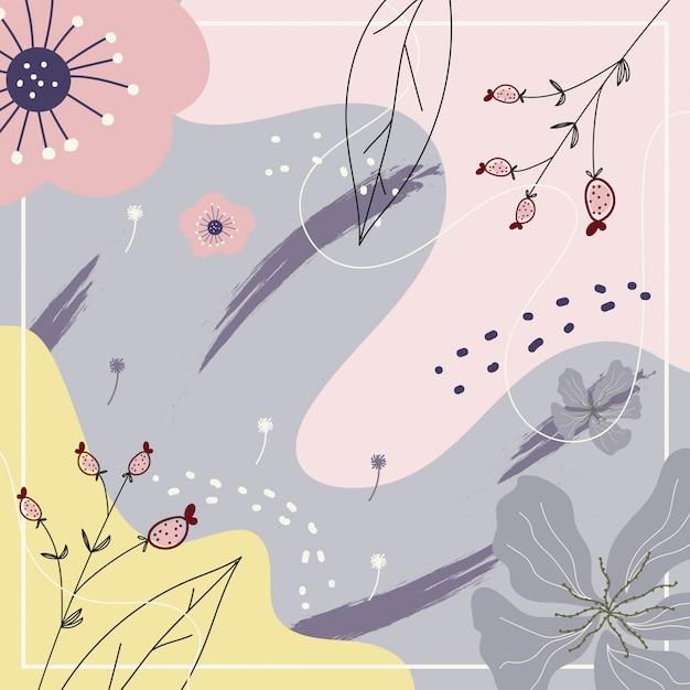 Arte contemporanea astratta con fiori per lo sfondo Vettore Premium