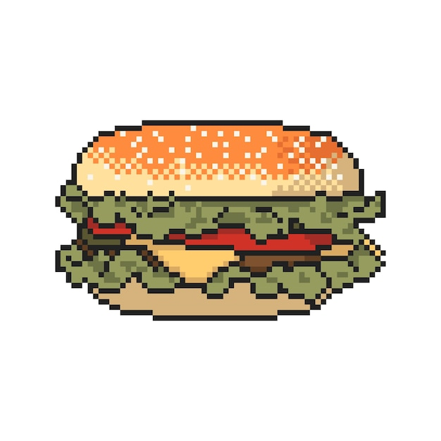 Arte del pixel dell'hamburger su priorità bassa bianca. illustrazione vettoriale Vettore Premium
