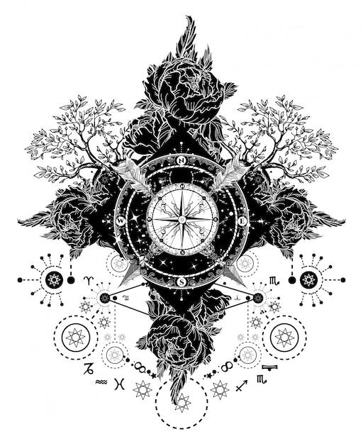 Arte del tatuaggio bussola, frecce incrociate, rose Vettore Premium