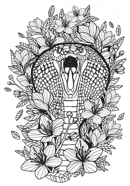 Arte del tatuaggio disegno a mano di serpente e schizzo in bianco e nero con la linea illustrazione di arte Vettore Premium