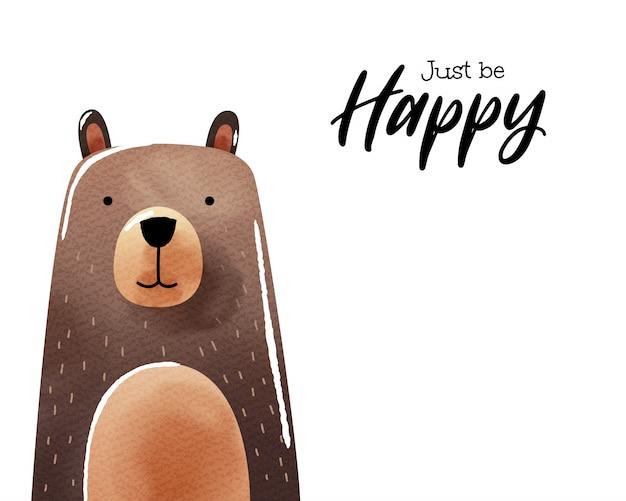 Arte dell'acquerello di orso dei cartoni animati Vettore Premium