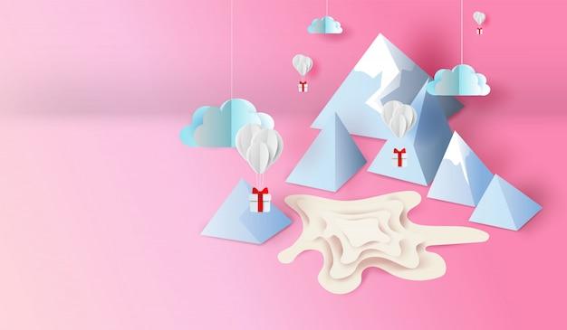 Arte di carta 3d e progettazione del mestiere dello stagno di scena di mountain view Vettore Premium