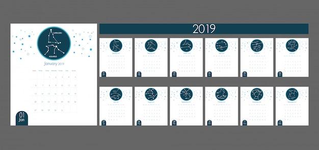 Calendario Oroscopo.Arte Di Carta Del Calendario 2019 Con Il Vettore Di Oroscopo