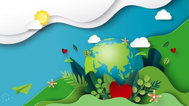 Arte di carta del concetto di giorno di terra e ambiente verde Vettore Premium