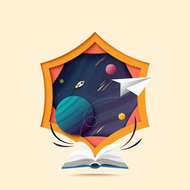 Arte di carta del libro aperto ed esplora nello spazio. Vettore Premium
