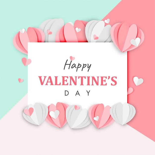 Arte di carta del vettore felice di progettazione di forma del cuore di origami del fondo di san valentino Vettore Premium