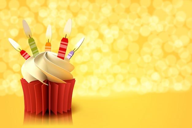 Arte di carta della tazza di torta su sfondo giallo Vettore Premium