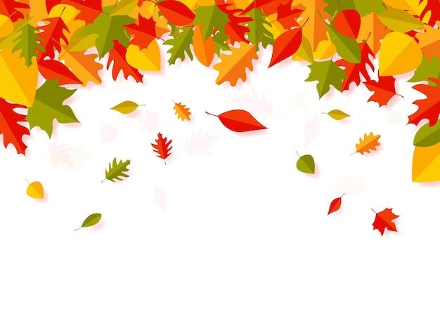 Arte di carta delle foglie di autunno che cade Vettore Premium