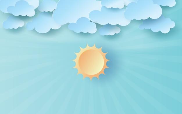 Arte di carta e mestiere di luce solare su cielo blu. Vettore Premium