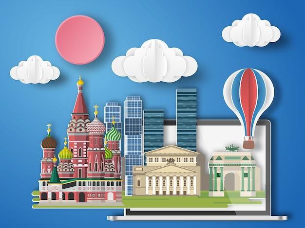 Arte di carta mosca, russia infographic. Vettore Premium
