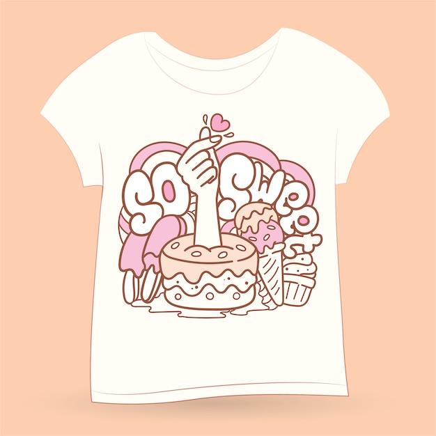 Arte di doodle disegnato a mano per maglietta Vettore Premium