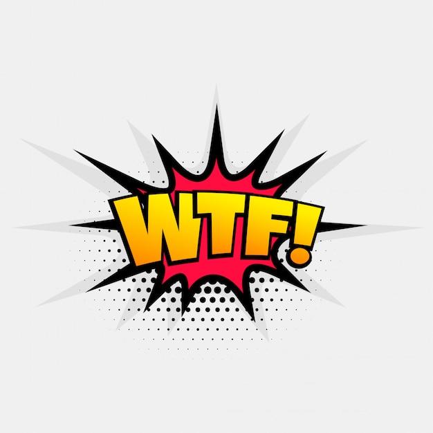 Arte di espressione pop testo comico per parola wtf Vettore gratuito