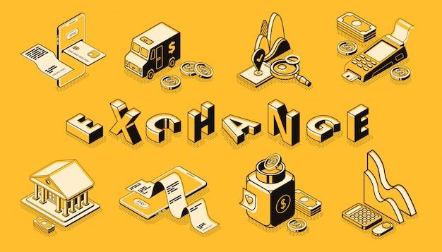 Arte di linea di borsa e cambio di valuta, banner di vettore isometrico. Vettore gratuito