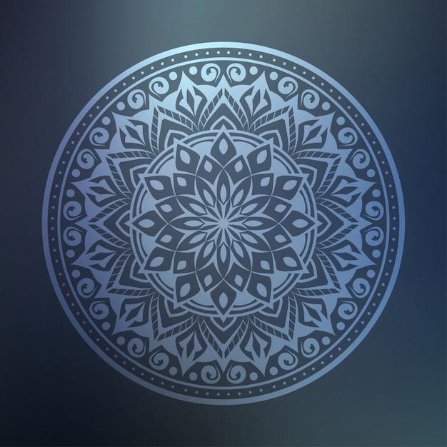 Arte di lusso mandala con arabesco d'argento sfondo stile arabo islamico orientale Vettore Premium