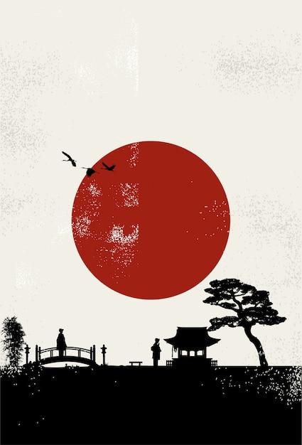 Arte giapponese Vettore Premium