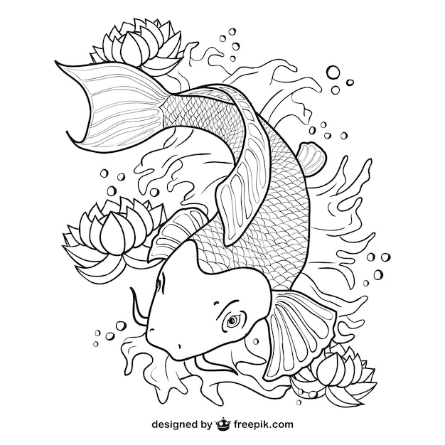 Arte koi linea pesce vettore Vettore gratuito