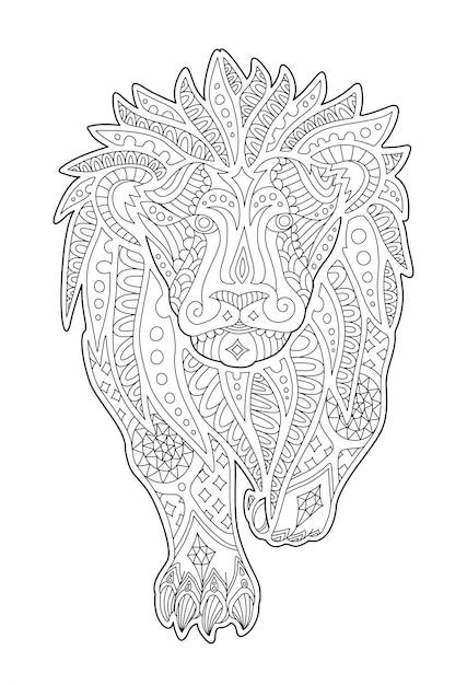 Arte per la pagina del libro da colorare con leone decorativo Vettore Premium