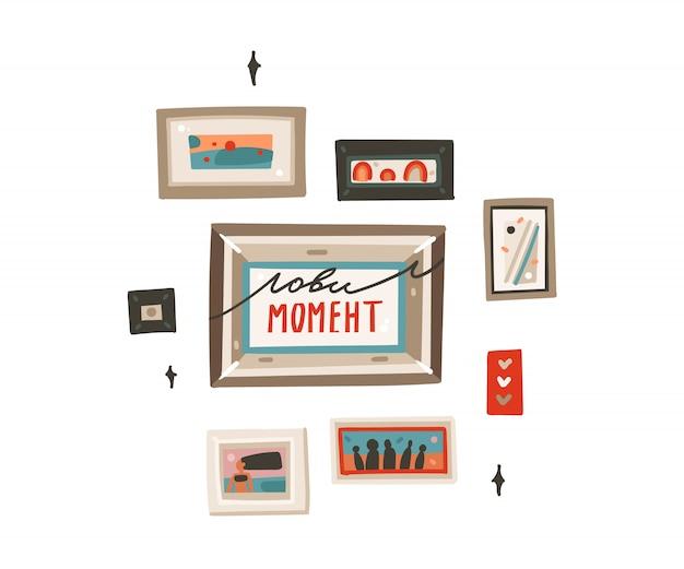 Arte stabilita delle illustrazioni della raccolta delle immagini delle strutture moderne astratte disegnate a mano del fumetto su fondo bianco Vettore Premium